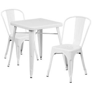 White Metal Restaurant Table Set With 2 Stack Chairs