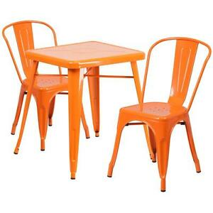 Orange Metal Restaurant Table Set With 2 Stack Chairs