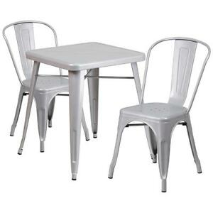 Silver Metal Restaurant Table Set With 2 Stack Chairs