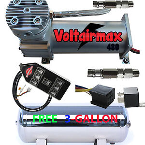 V 480c Air Compressor Ride 200psi Rated Free 3 Gl Stainless Tank 7 Switch Cont