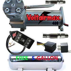 480c Air Compressor Ride Kit 200psi Rated Free 5 Gl Stainless Tank 7 switch Cont
