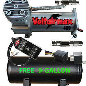 V 480c Air Compressor Ride 200psi Rated Free 9 Gl Black Tank 7 switch Cont