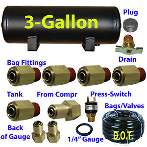 Xfitx 3 Gallon Air Tank With Fittings Kit Pressure Switch 1 4 3 8 Airhose