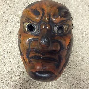 Large Folk Japanese Noh Nio Ugyo God Tengu Buddha Zen Devil Wooden Mask Men Art