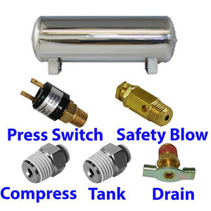 5 Gallon Stainless Air Tank 5 port Train Horn Air Suspension With All Fittings