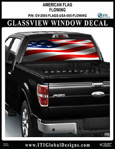 Usa Flag Flowing Truck Window Wrap Decal America United States Chevrolet