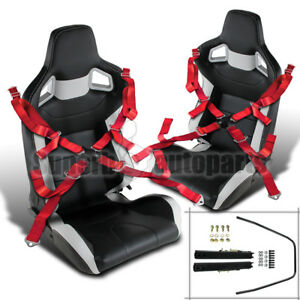 2x Black White Pvc Leather Jdm Reclinable Racing Seats Red Camlock Seat Belts