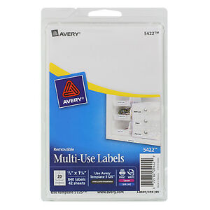 avery Removable Multi use Labels 1 2 X 1 3 4 White 840 pack