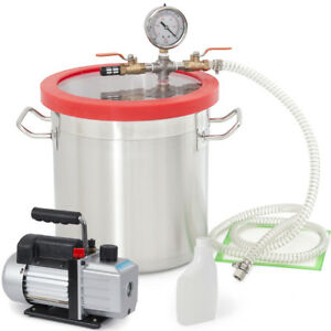 3cfm Pump Single Stage W 3 Gallon Vacuum Chamber Silicone Degassing Urethane