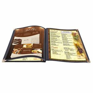 30pcs 8 5x14 Menu Cover 3 Page 6 View Restaurant Cafe Club Black Trim Fold Book