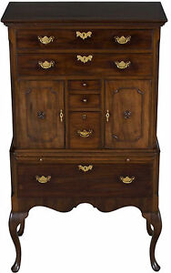 Small Antique Queen Anne Style Walnut Highboy Tallboy Dresser Chest Of Drawers