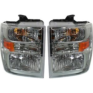 Headlight Set For 2008 2014 Ford E 350 Super Duty Left And Right Capa 2pc
