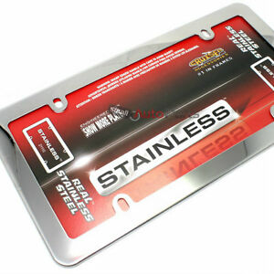 Real Plain Stainless Steel Chrome License Plate Tag Frame For Auto Car Truck