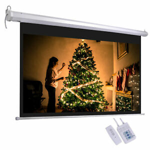 100 Electric Projector Screen 16 9 Remote Control Movie Film Theater Projection