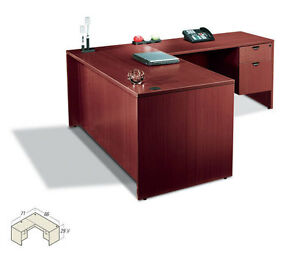 Laminate L Shape Desk W Ped Size Upgrade 1 71 h Bookcase In Dark Cherry