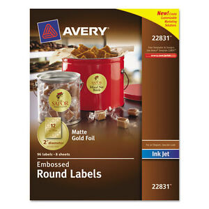 Avery Embossed Round Labels Matte Gold Foil 2 inch Diamter 2 Packs Of 96
