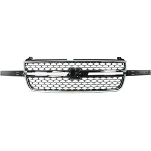 Grille 03 06 For Chevy Silverado 1500 2500 Hd Chr Black Insert W O Side Mldgs