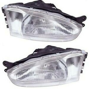 Headlight Set For 97 2002 Mitsubishi Mirage Left And Right With Bulb 2pc