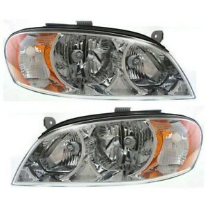 Headlight Set For 2002 2003 2004 Kia Spectra Sedan Left And Right With Bulb 2pc