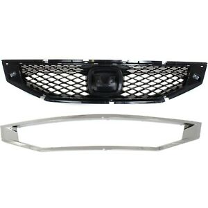 Grille For 2008 2010 Honda Accord Coupe Set Of 2 Textured Black Plastic