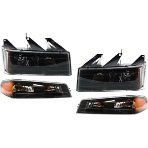 Blk 4pc 2004 2012 Chevy Colorado Canyon Headlights Corner Lights Parking Lamps