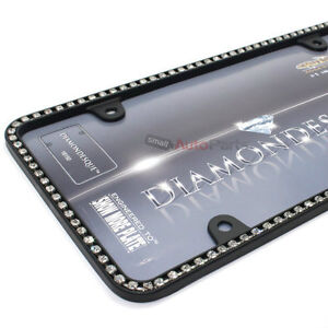 Clear Diamond Bling Crystals Black License Plate Tag Frame For Auto Car Truck