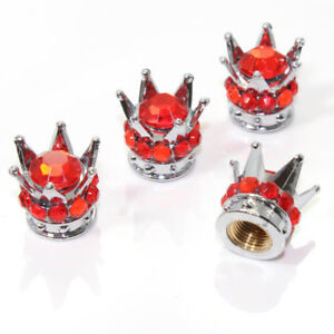 4 Chrome Crown Red Bling Diamond Tire Wheel Stem Valve Caps Car Truck Hot Rod