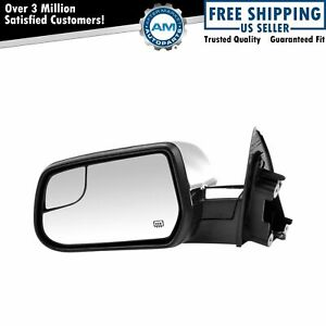 Heated Power Textured Black With Chrome Cap Cover Lh Driver Side Mirror For Gm