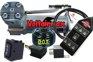 Voltair 480c Air Compressor Ride Kit Train Horn With Avsx 7 switchbox Controller