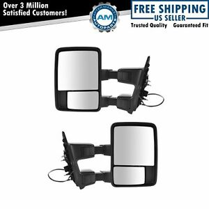 Dual Arm Tow Mirror Power Fold Textured Black Chrome Set Of 2 For Ford Pickup