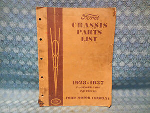 1928 1937 Ford Original Chassis Parts List Catalog Pass Truck 29 31 33 35 36