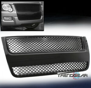 2007 2010 Ford Explorer Sport Trac Mesh Front Upper Hood Grille Grill Abs Black