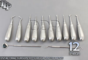 12 Dental Oral Surgery Kit Surgical Instruments Forceps Elevators
