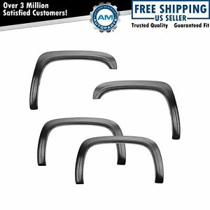 Bolt On Factory Style Smooth Black Fender Flare Kit Set Of 4 For Silverado 1500