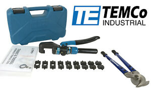 Temco Hydraulic Wire Lug Terminal Crimper Tool Electrical Cable Cutter Set