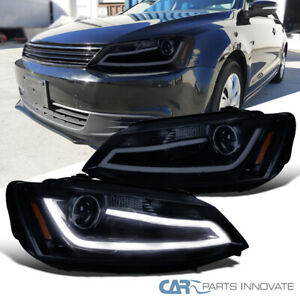 Glossy Black Fit 11 14 Jetta Led Drl Projector Headlights Head Lamps Left right