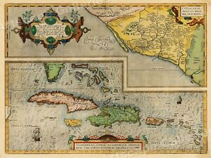 Caribbean Florida Mexico 1580 S Vintage Style Decorative Map 20x28