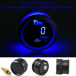 Us 2 52mm Digtal Blue Led Oil Temp Temperature Gauge With Sensor Car Renovation