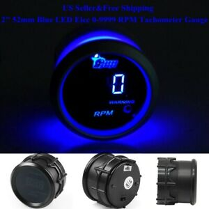 Us 2 52mm Blue Digital Led Elec 0 9999 Rpm Tachometer Tacho Gauge Car Motor