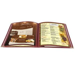 20pcs Restaurant Menu Cover Foldable 8 5x11 Burgundy Trim 4 Page 8 View Cafe