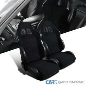 New T r Type Jdm Black Cloth Pvc Reclinable Racing Bucket Seats Pair