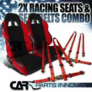 T r Black Red Cloth Pvc Reclinable Racing Bucket Seats Pair W red Belt Harness