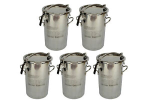 5x Temco 10 Liter 2 5 Gallon Stainless Steel Milk Can Wine Pail Bucket Tote Jug