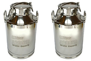 2x Temco 40 Liter 10 5 Gallon Stainless Steel Milk Can Wine Pail Bucket Tote Jug