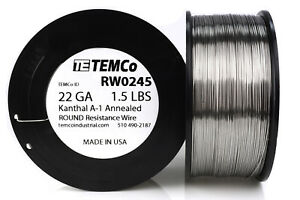 Temco Kanthal A1 Wire 22 Gauge 1 5 Lb 961 Ft Resistance Awg A 1 Ga