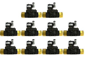 10x 1 Npt Electric Plastic Nylon Solenoid Air Water Valve Nc 12v Dc Pneumatic