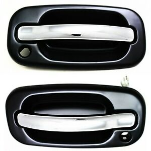 Chrome Black Exterior Door Handle Front Pair Set For Silverado Pickup Truck