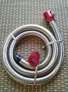 5 16 Inside Dia X 3 Braided Stainless Steel Flexible Fuel Line Kit Red Clamps
