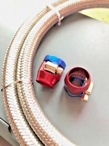 Hose Fuel Vacuum 1 4 I d X 3 Braided Stainless Flexible Red blue Clamps