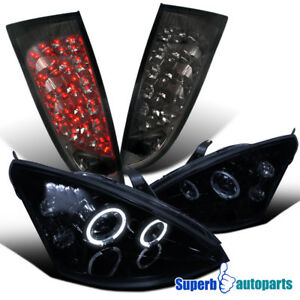 2000 2004 Ford Focus Halo Projector Headlights Glossy Black Led Tail Light Smoke